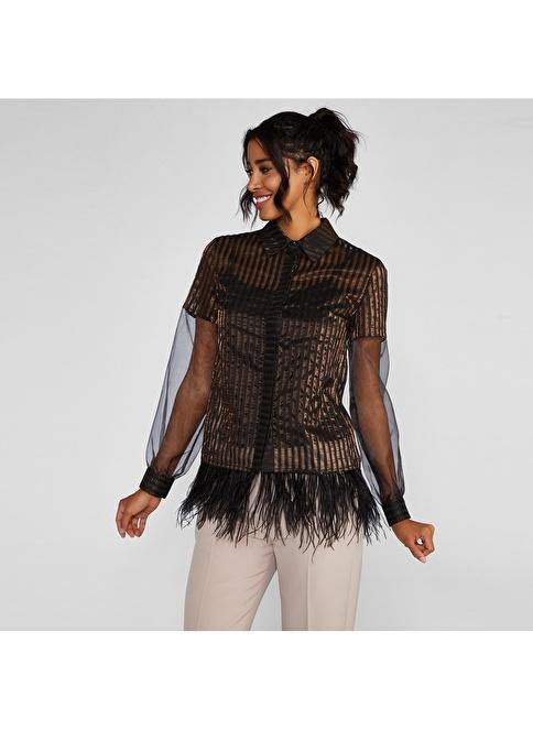 Vekem-Limited Edition Transparan Çizgili Gömlek Siyah